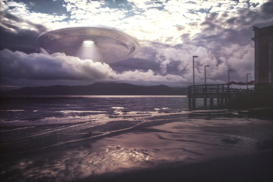 Alien space ship through the clouds, illustration
