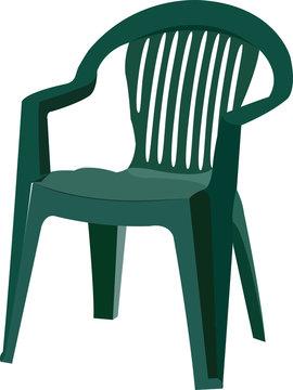 sedia di plastica verde per esterno e da giardino