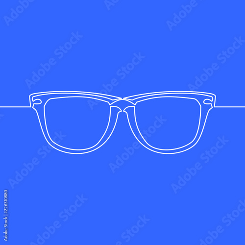 601506fcad17 one line drawing vector object eye glasses concept
