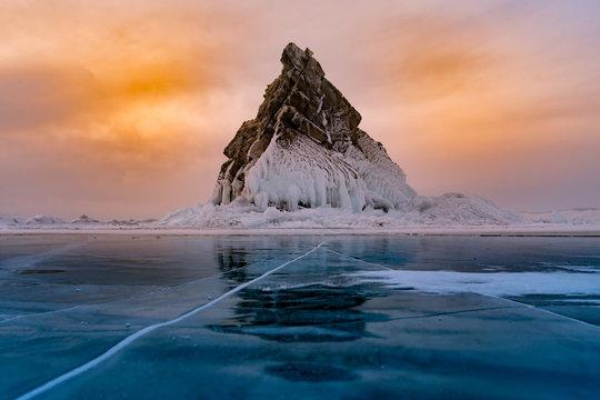 Rock on freeze water lake, Baikal Russia winter season natural landscape background