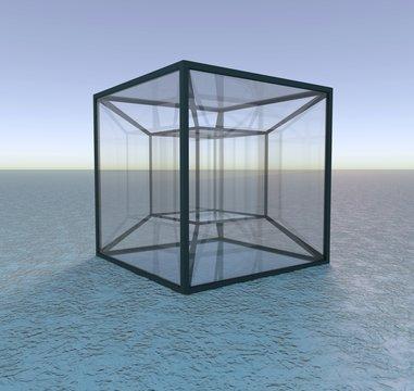 Model of a tesseract, illustration