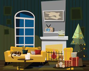 living room in Christmas vector illustration