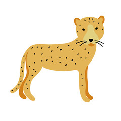 vector color yellow black spot cheetah big cat animal simple Scandinavian style childish for your paper textile design