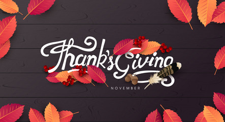 Thanksgiving day banner background. Celebration quotation for card.vector illustration.Autumn season happy Thanksgiving inscription.