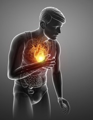 Man with chest pain, illustration