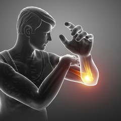 Man with elbow pain, illustration