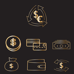 icons/On the picture icons for business, infographics, presentations, presentations, demonstrations. Icons of money, dollars, banukov cards, banknotes.