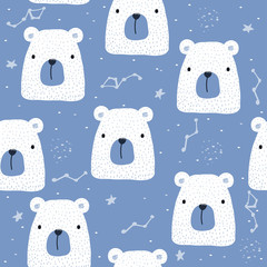 Seamless pattern with polar bear and stars. Vector hand drawn illustration.