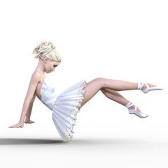 Dancing ballerina 3D. White ballet tutu. Blonde girl with blue eyes. Ballet dancer. Studio photography. High key. Conceptual fashion art. Render realistic illustration. White background.