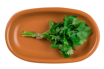 Parsley on a brown plate isolated on white background.
