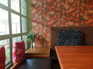 Beautiful stylish autumn table decoration,stylish table catering.Still life details,Restaurant interior decor in warm and brown colors. Wall mural
