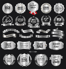 Collection of silver badges and labels retro design