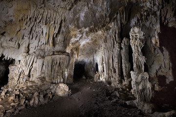 Stalactite and Stalagmite formations in Puente cave in Este national park of Dominican Republic