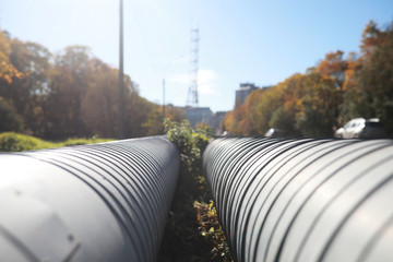 Industrial pipes on street construction