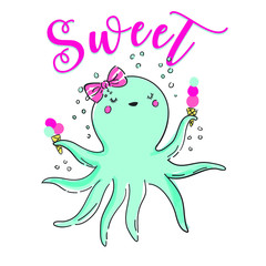 Hand drawn cute octopus vector design for t shirt printing