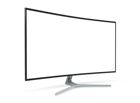 Side view of curved monitor computer 3D rendering