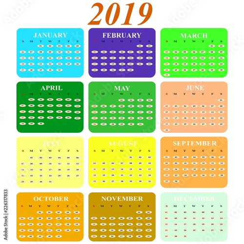 Calendar on 2019 year months of color icons