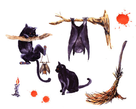 Set of Halloween holiday symbol illustration. Hand drawn watercolor for kids cat hat but broom candle pumpkin