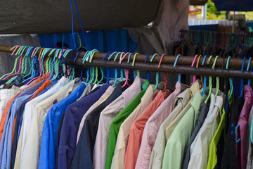 Second hand shirts for sale in flea market