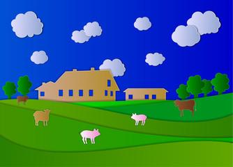 Vector Farm, Agricultual Landscape, Colorful Paper Art.