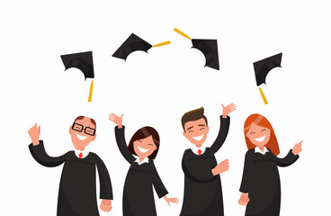 Group of university graduates in black gowns throw up caps.