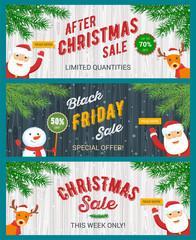 Christmas sale banners set. Santa Claus, snowman and reindeer. Vector illustration