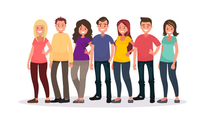 Group of happy people in casual clothes on a white background.