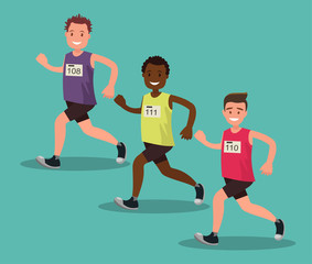 Participants of the international men s marathon. Vector illustration.