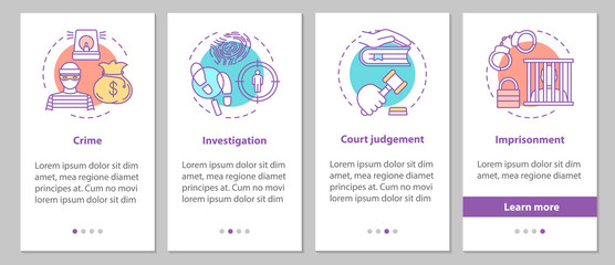 Law enforcement onboarding mobile app page screen with linear co