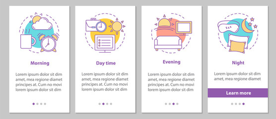 Time period onboarding mobile app page screen with linear concep