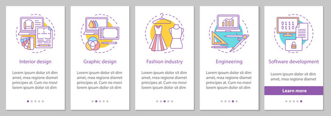 Design industry onboarding mobile app page screen with linear co