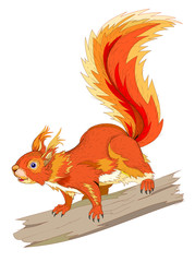 Fantasy illustration of cute squirrel sitting on a branch on white background. Hand-drawn vector image.