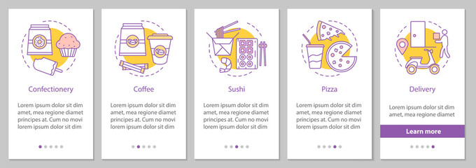 Food delivery onboarding mobile app page screen with linear conc