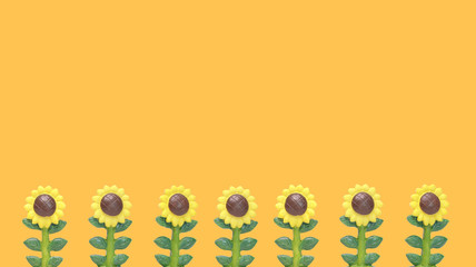 Line of Sunflowers Model on Color Orange Background