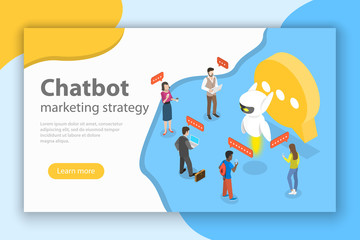 Flat isometric vector concept of chatbot markting strategy, ai, artificial intelligence, customer support.