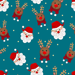 Santa Claus and Reindeer Seamless on Blue Background