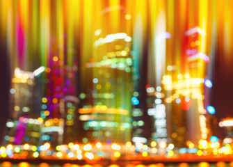 Colorful vertical skyscrapers bokeh background