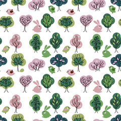 Seamless pattern with spring forest. Endless texture with trees for easter and season design, decoration,  greeting cards, posters,  invitations, advertisement.