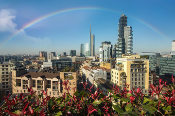 Fototapete - Milan skyline with modern skyscrapers with flowers, Italy