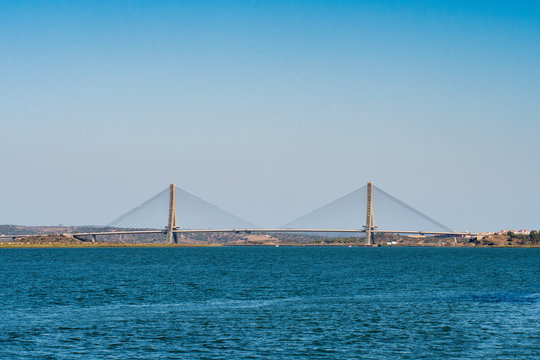 Guadiana International Bridge connecting Ayamonte town in Spain and Castro Marim town in Portugal