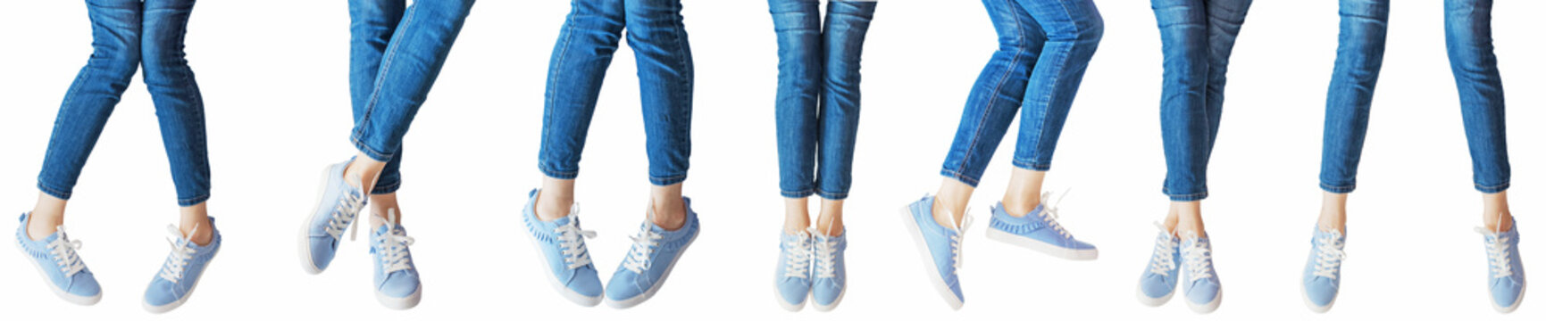 panorama set of female legs in the different poses in jeans and sneakers isolated on white background