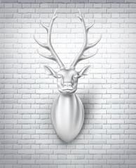 Vector deer with horns 3d sculpture illustration