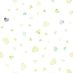Light Green, Yellow vector seamless layout with sweet hearts.