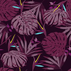 vector seamless beautiful artistic monotone tropical pattern with exotic forest. Colorful original stylish floral background print,