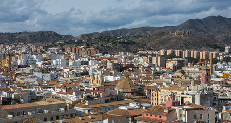 Cityscape aerial view of Malaga, Spain.