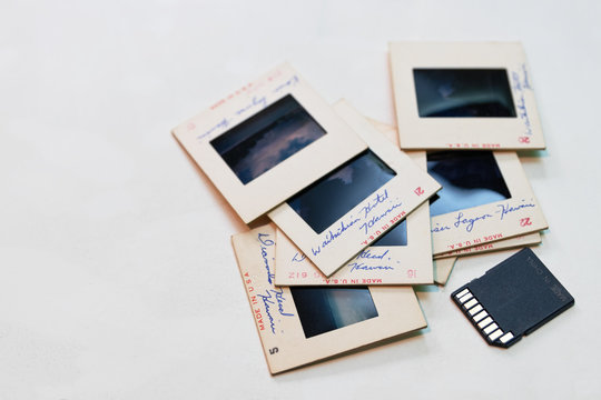 Old 35mm slides and modern memory card