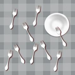 Piatto e forchette, progetto grafico.