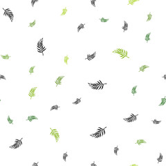 Light Green vector seamless natural pattern with leaves.