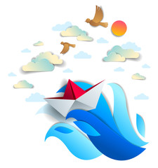 Origami paper ship toy swimming in ocean waves, beautiful vector illustration of scenic seascape with toy boat floating in the sea and birds in the sky. Water travel, summer holidays.