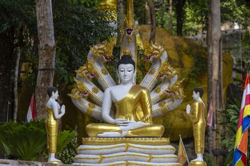 Beautiful Buddha statue with Naga heads at buddhist temple, Thailand.